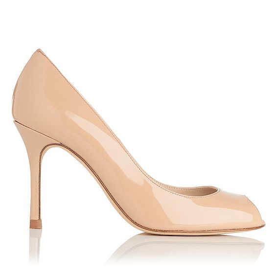Margo Nude Patent Leather Peep Toe Heel
