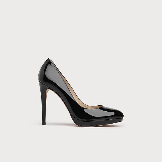New Sledge Black Patent Leather Heel