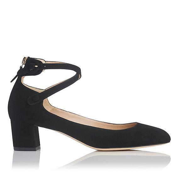 Polly Black Suede Heels