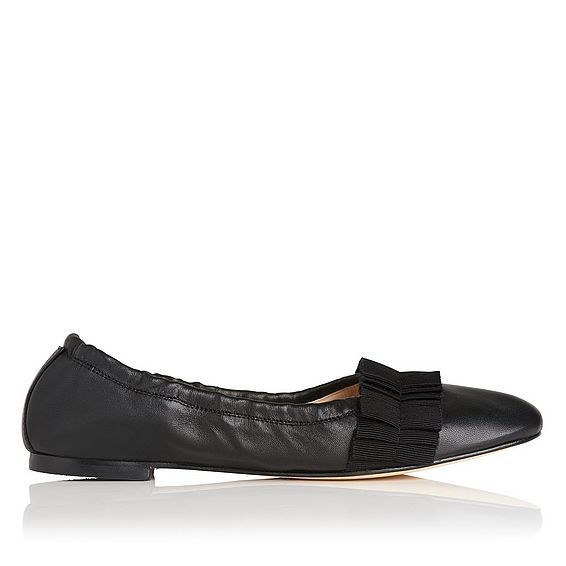 Demi Black Leather Flat