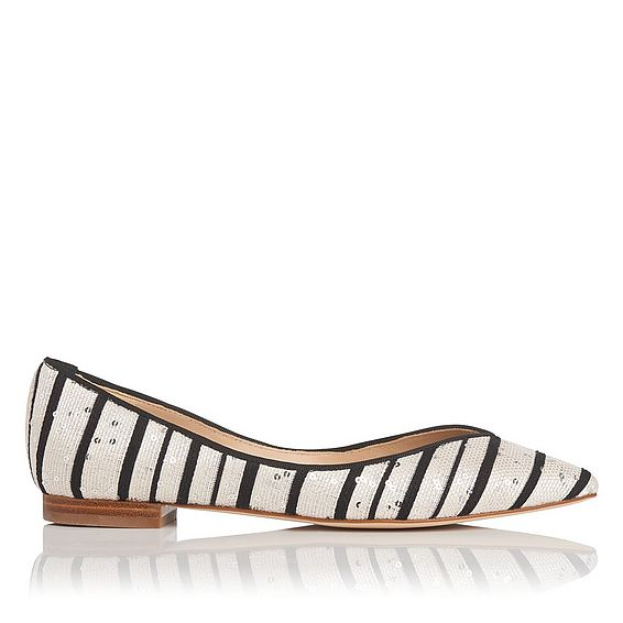 Luisa Black and White Sequin Flat