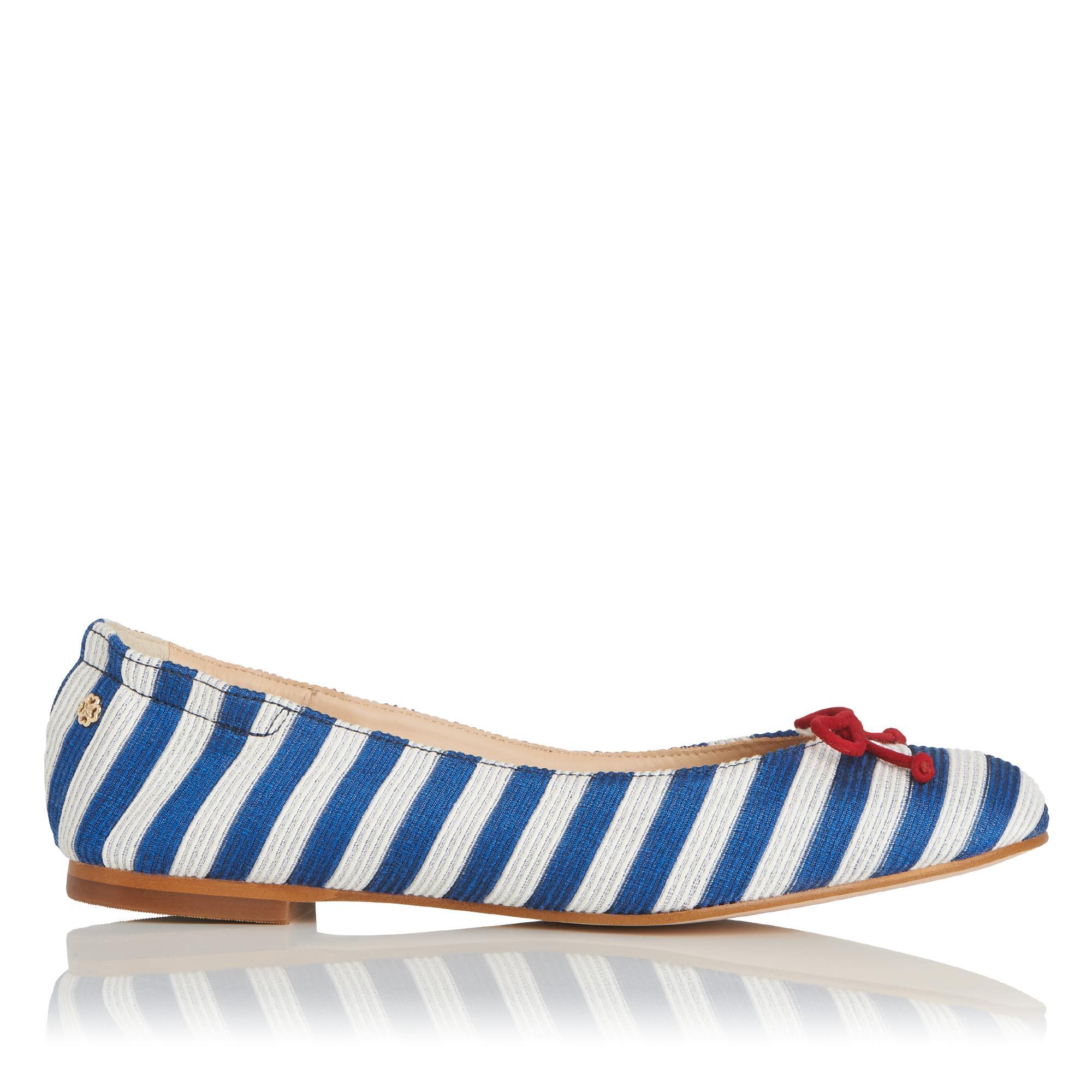 Thea Blue and White Stripe Flats