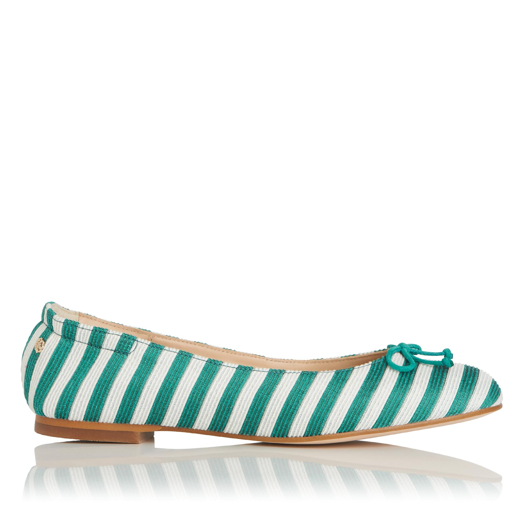 Thea Green and White Stripe Flats