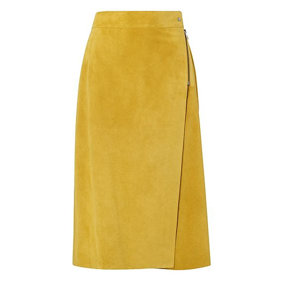 Reilley Yellow Suede Wrap Skirt