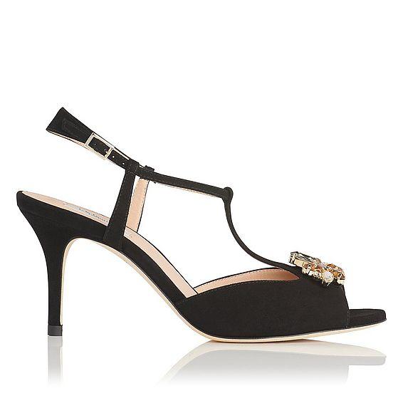 Yvette Black Suede Sandal