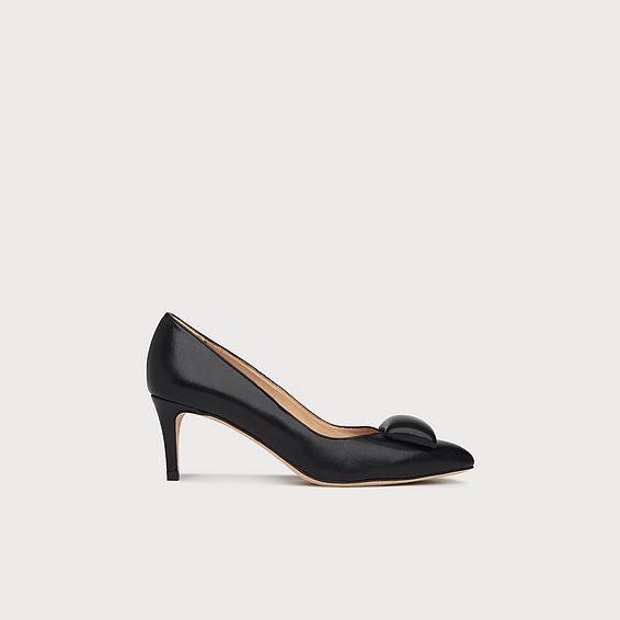 Doria Black Leather Heels
