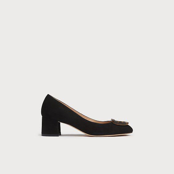 Nimah Black Suede Block Heels