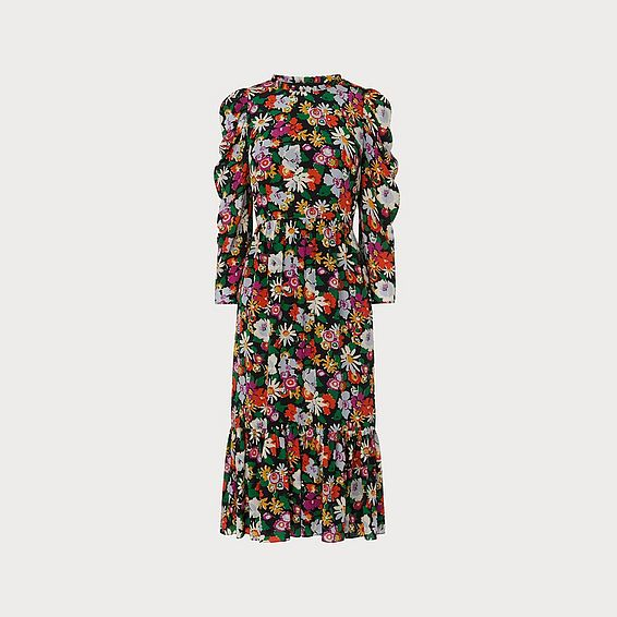 Alissa Floral Silk Dress