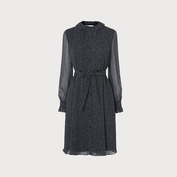 Eliza Navy Frill Neck Dress