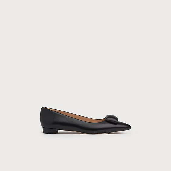 Jacqui Black Nappa Leather Flats