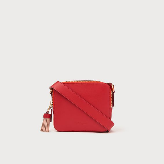 Marion Red Leather Crossbody