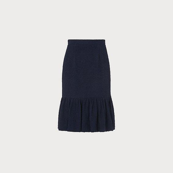 Ainsley Navy Tweed Peplum Skirt