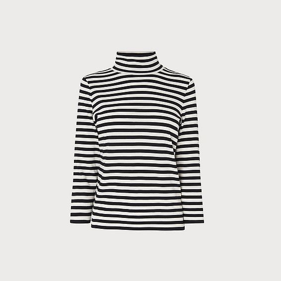 Abi Navy & Cream Striped Top