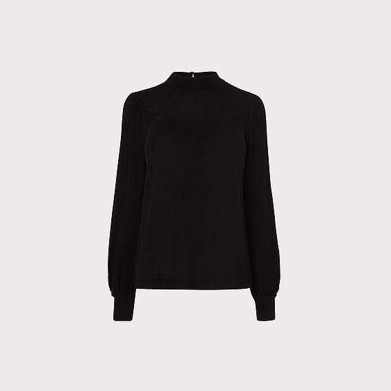 Amani Black Wool Jersey Top