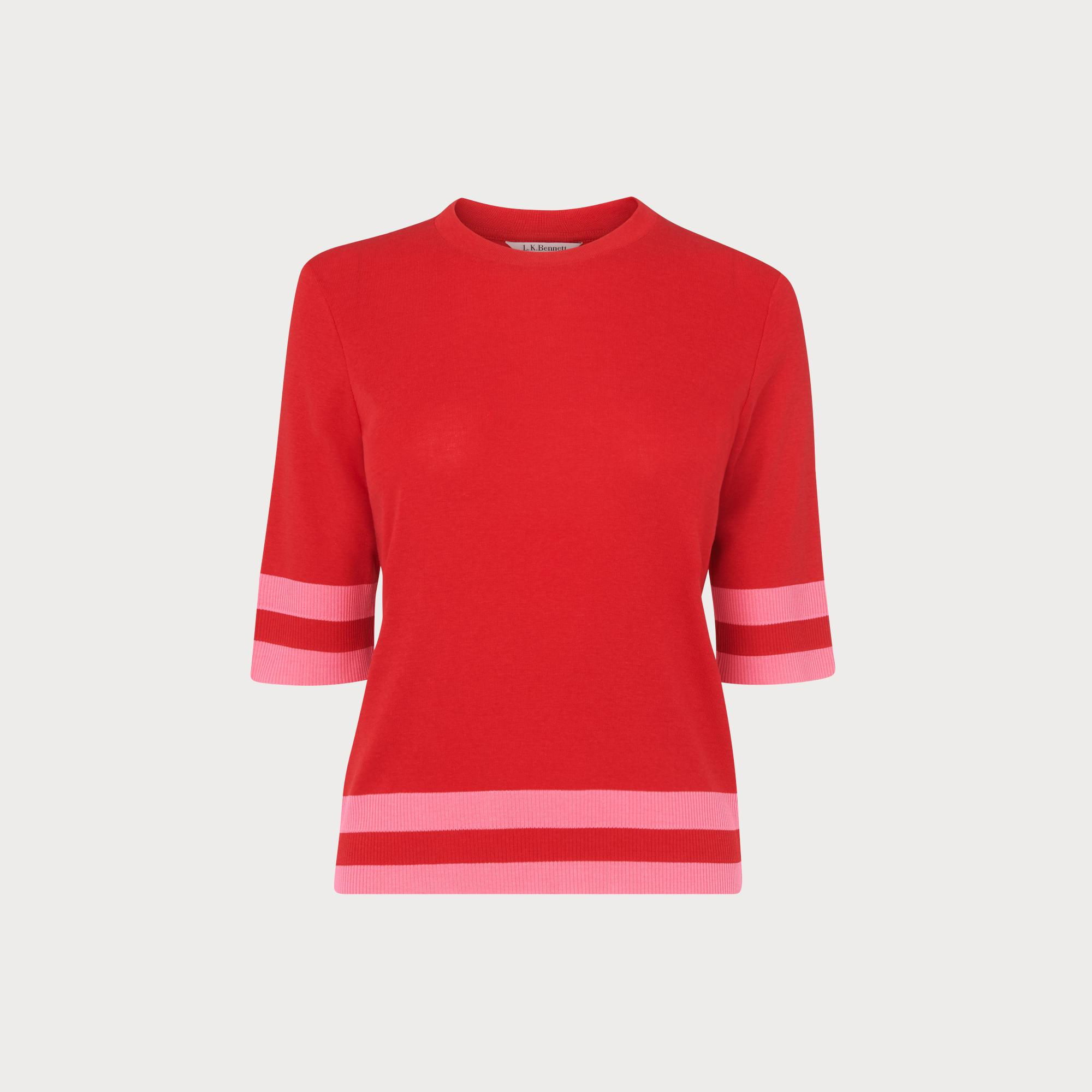 Michi Pink Ribbed Jersey Top by L.K.Bennett
