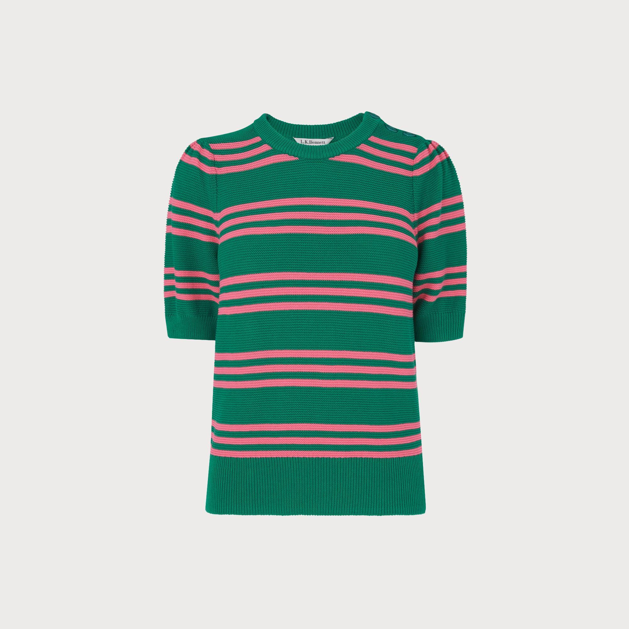 Isobel Green Cotton Striped Sweater by L.K.Bennett