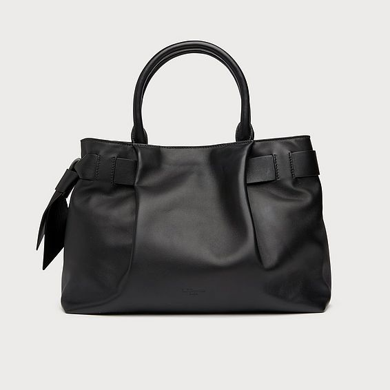 Gemma Black Smooth Leather Tote