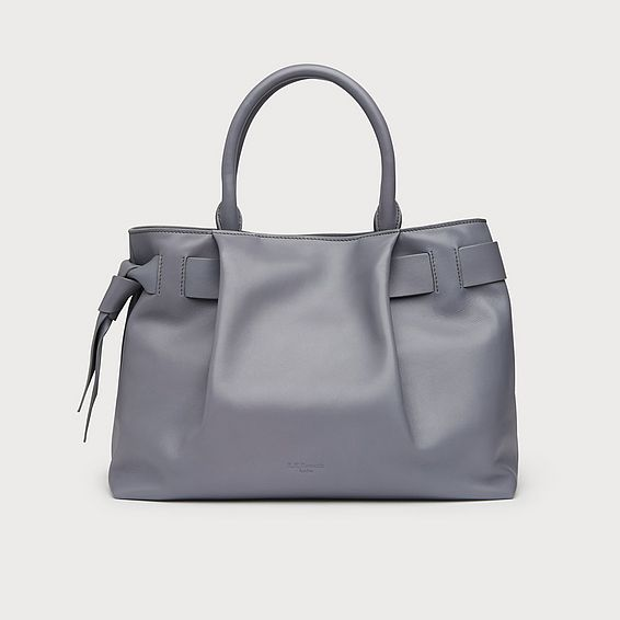 Gemma Grey Leather Tote Bag