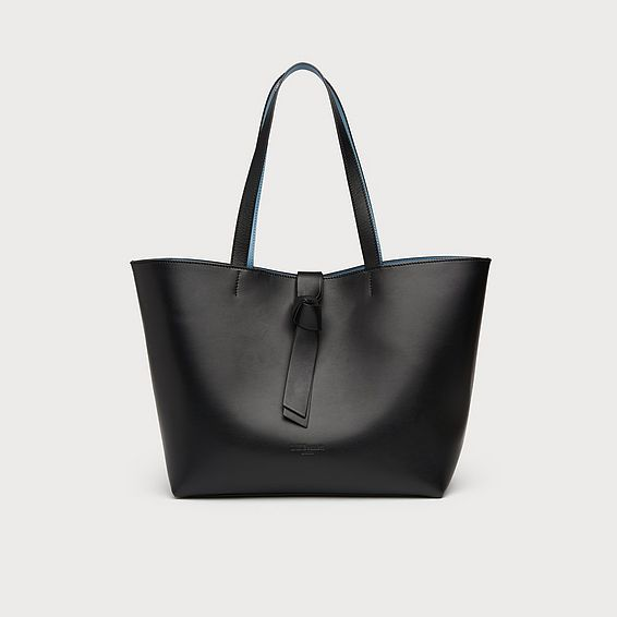Georgia Black Leather Tote Bag