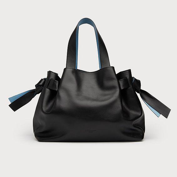 Geraldine Black Leather Tote Bag