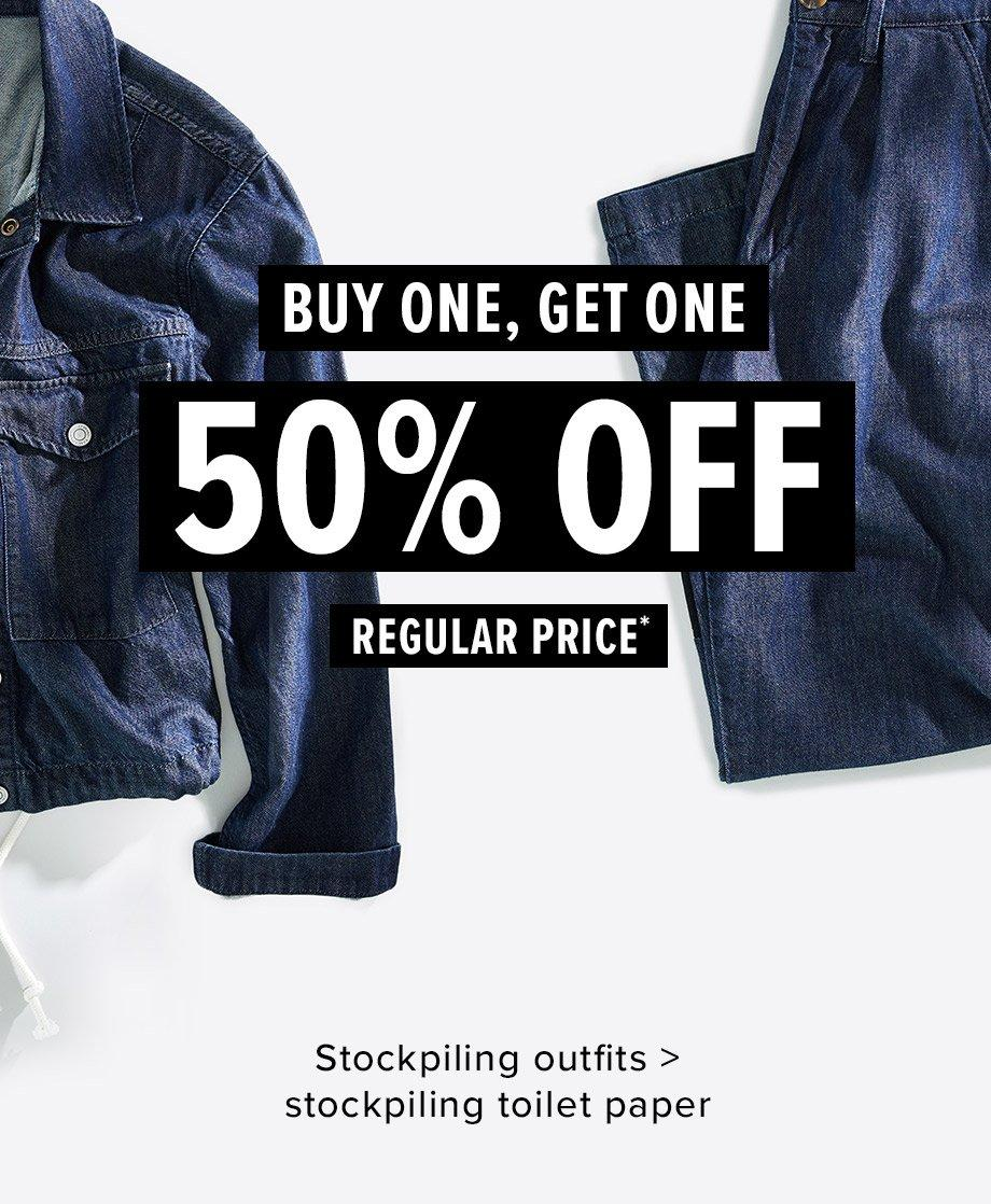 BOGO 50% Off Apparel