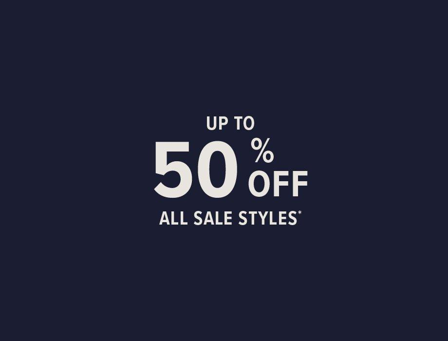 Up to 50% off all sale styles banner