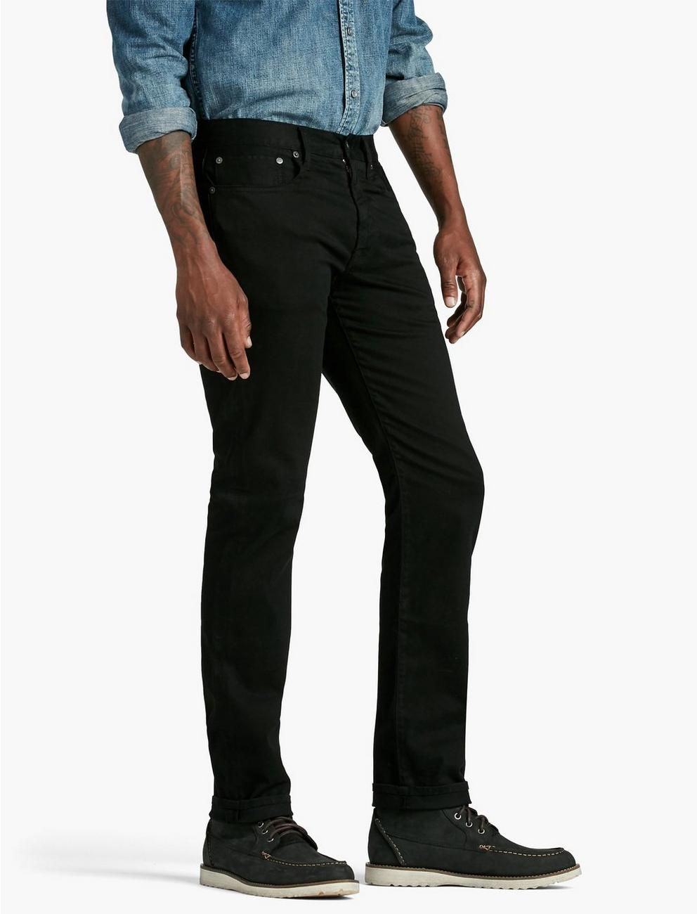 121 SLIM STRAIGHT SATEEN STRETCH JEAN,