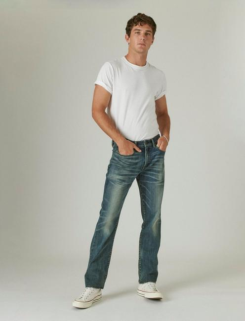 121 SLIM STRAIGHT COOLMAX STRETCH JEAN, GREENVALE