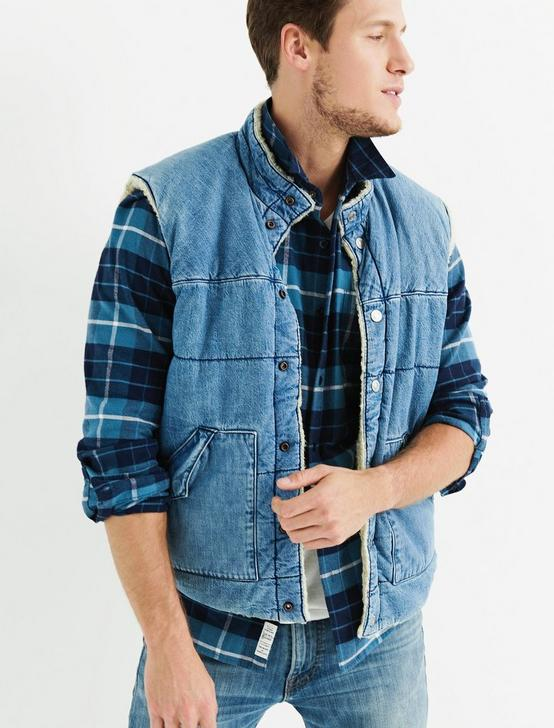 DENIM SHERPA VEST, FISHER, productTileDesktop