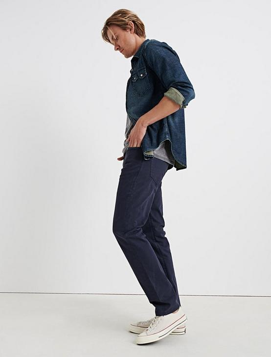 121 SLIM STRETCH SATEEN JEAN, NAVY, productTileDesktop