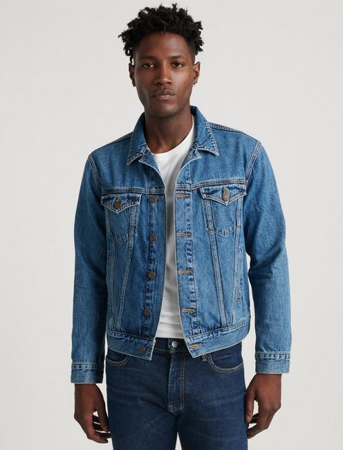 DARK BLUE TENCEL TRUCKER JACKET,