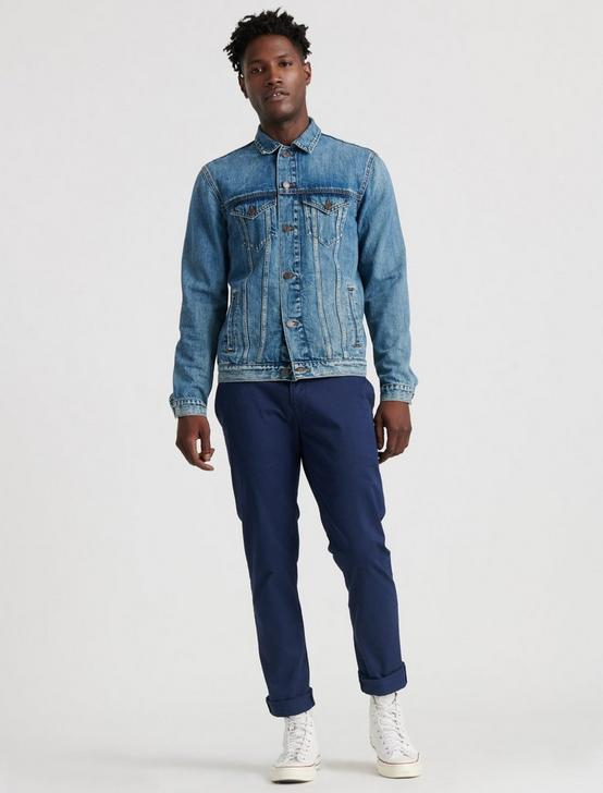 MEDIUM BLUE TENCEL TRUCKER JACKET, LONG BEACH, productTileDesktop