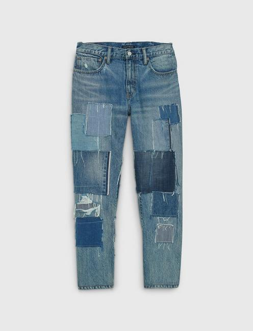 223 STRAIGHT STRETCH JEAN, INDIGO PATCHWORK