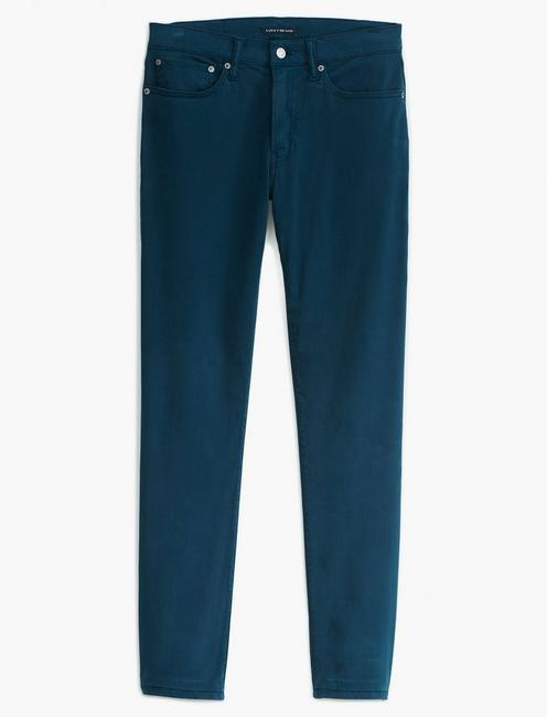 121 SLIM STRAIGHT SATEEN STRETCH JEAN, PETROL