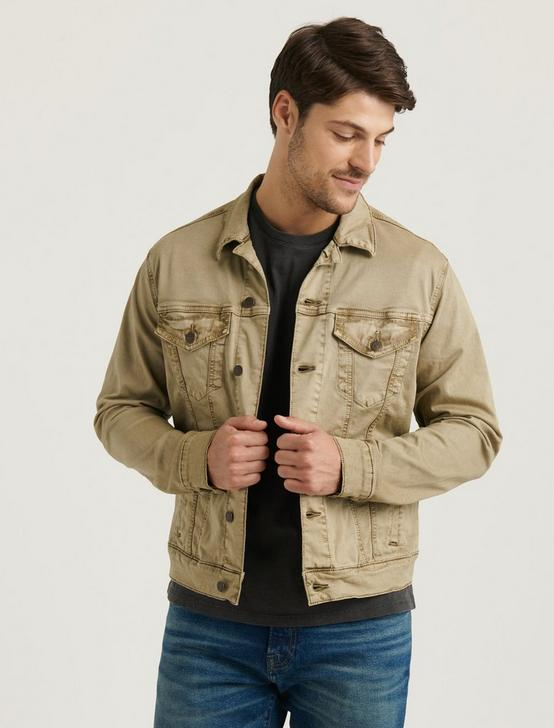 THE SATEEN TRUCKER JACKET, SAND ASH, productTileDesktop