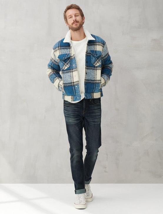 WOOL TRUCKER JACKET, CEDAR INDIGO, productTileDesktop