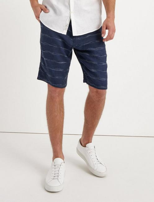 LAGUNA LINEN STRIPED SHORT, SPACEDYE BLUE STRIPE