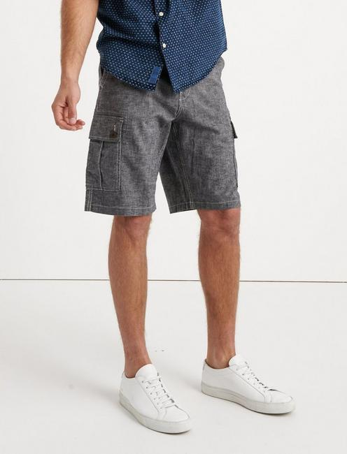 LAGUNA CHAMBRAY CARGO SHORT, BLACK CHAMBRAY