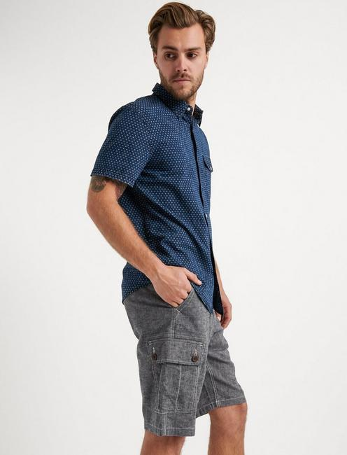 LAGUNA LINEN CARGO SHORT, BLACK CHAMBRAY