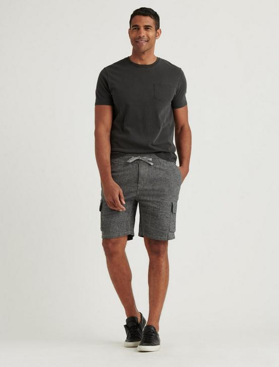 LAGUNA LINEN CARGO SHORT, BLACK CHAMBRAY, productTileDesktop