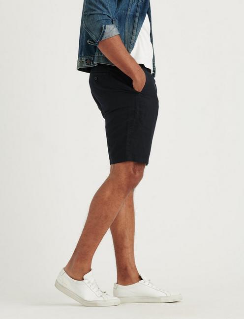 LAGUNA LINEN FLAT FRONT SHORT, BLACK ONYX