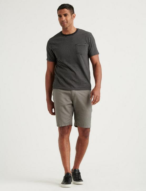 LAGUNA LINEN FLAT FRONT SHORT, CHARCOAL GREY, productTileDesktop