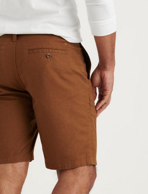 LAGUNA LINEN FLAT FRONT SHORT, COPPER BROWN