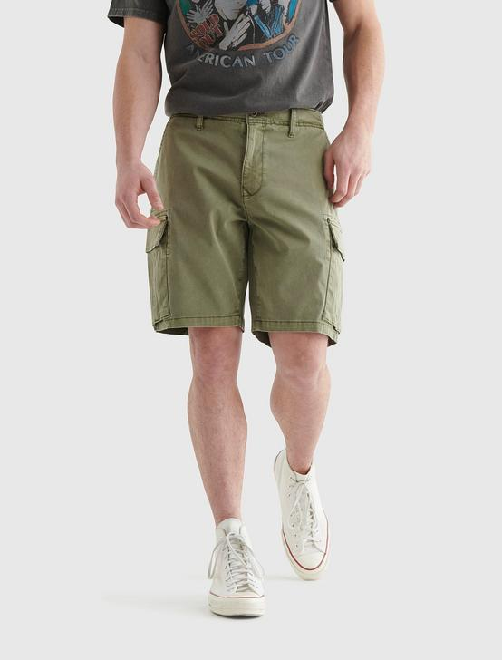 STRETCH CARGO SHORT, DEEP LICHEN GREEN, productTileDesktop