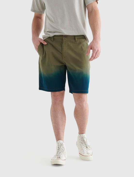 STRETCH DIP DYE FLAT FRONT SHORT, BURNT OLIVE, productTileDesktop