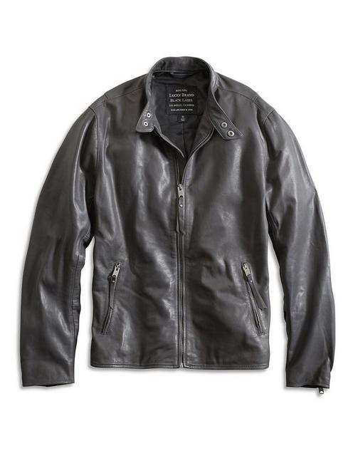 CLEAN BONNEVILLE LEATHER JACKET, FORGED IRON
