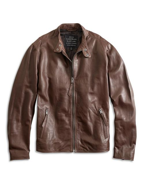 CLEAN BONNEVILLE LEATHER JACKET, DARK BROWN