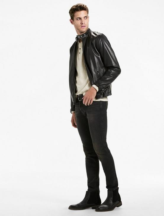 CLEAN BONNEVILLE LEATHER JACKET, BLACK, productTileDesktop
