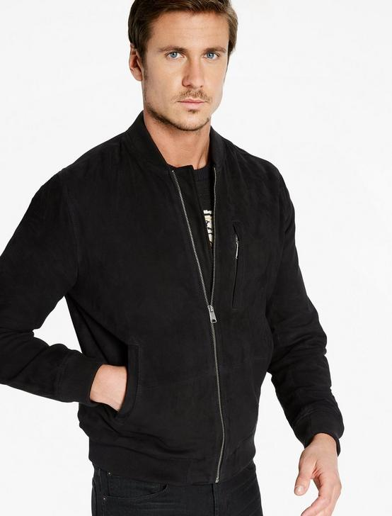 Suede Bomber Jacket, #001 BLACK, productTileDesktop