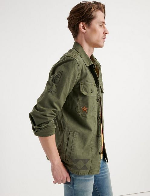 MILITARY SCRIBBLE JACKET, 378 OLIVE